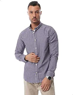 Andora Two-Tone Button Down Collar Long-Sleeves Gingham Shirt for Men