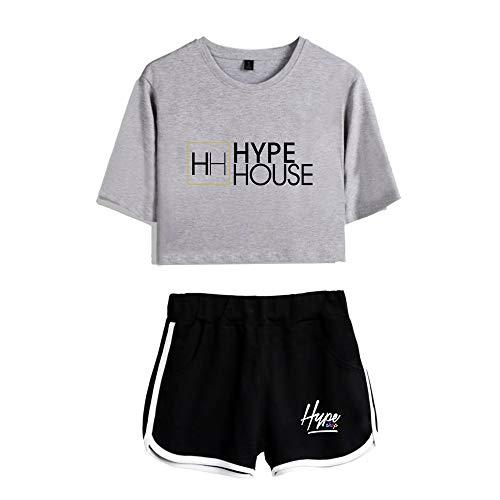 HYPETY Top Court Et Short pour Filles 2 Pièces, Ensemble De T-Shirt À Manches Courtes Et Short À Manches Courtes The Hype House,Gray 2,XXL