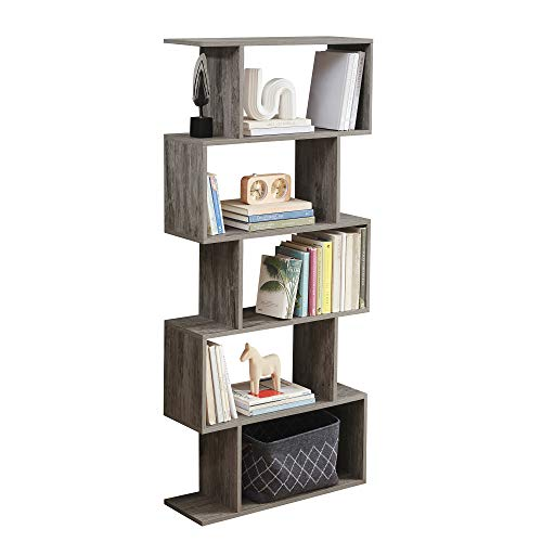 Sunon 5-Tier Bookshelf Free Standing Wood Bookcase, S-Shaped 5 Shelves Book Case for Home Office (Grey)