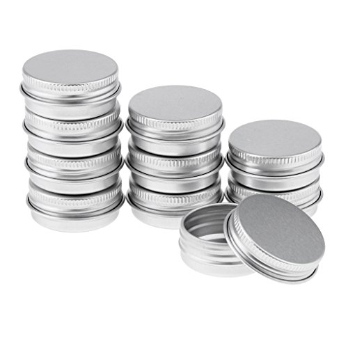 10x Leer Nailart Döschen Creme Dosen Tiegel Blechdose mit Deckel, aus Aluminium, 15/25ml - 15ml