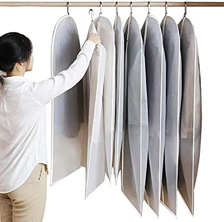 Costumes 6 Pack Hanging Garment Bag Dust Bags Cover with Zipper for Suits Summer Dresses Uniforms White