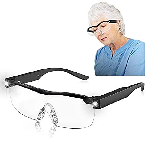 Mifine Gafas De Lectura con Aumento De 250% 400° con Luz 2 Led Gafas De Lectura Manos Libres Bloqueo De Computadora Filtro De Luz Azul Anteojos con Ayuda Anti-Fatiga Ocular Recargables (4+)