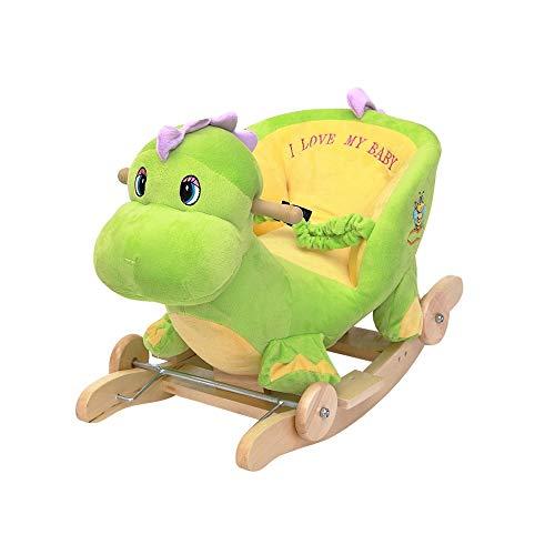 NXYJD Multifunción de Madera y Animales de Peluche Mecedora Caballo de Troya Juguete Mecedora Carro de bebé Niño Coche de Carretilla