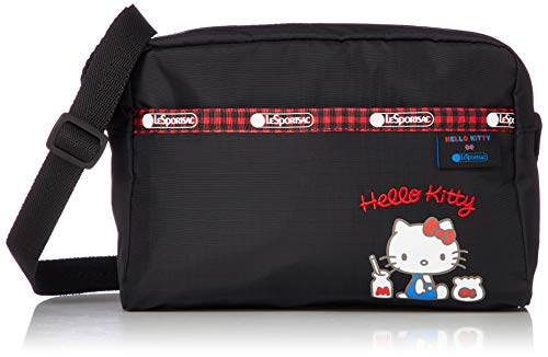 LeSportsac Hello Kitty Favorites Exclusive Daniella Crossbody Bag, Style 2434/Color G633, Red Embroidered Hello Kitty Lettering & Hello Kitty Design Zipper Pull