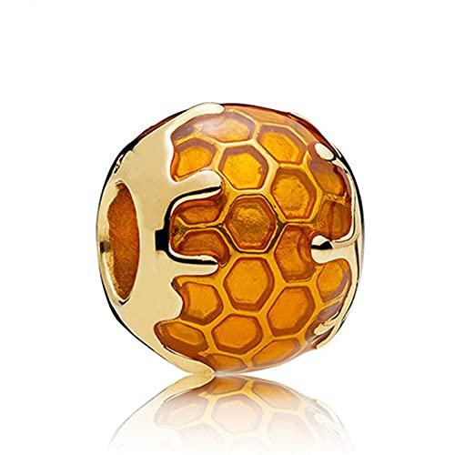 Pandora 925 joyería de plata esterlina colgantes novo pingente de favo de mel de ouro contas adequado para charme pulseira senhoras jóias fazendo presentes