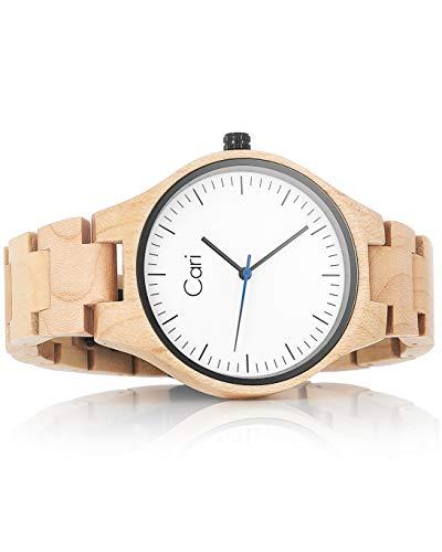 Cari Damen und Herren Holz Armbanduhr Marseille Ahorn Hell MR-060356