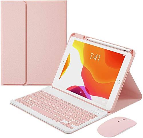 Estuche Para Teclado De 10.5 Pulgadas Para Ipad Air 3Rd Generation / Ipad Pro 10.5 2017, Retroiluminación Teclado Bluetooth Inalámbrico Desmontable Con Portalápices Incorporado,Pink-7 Color Backlit