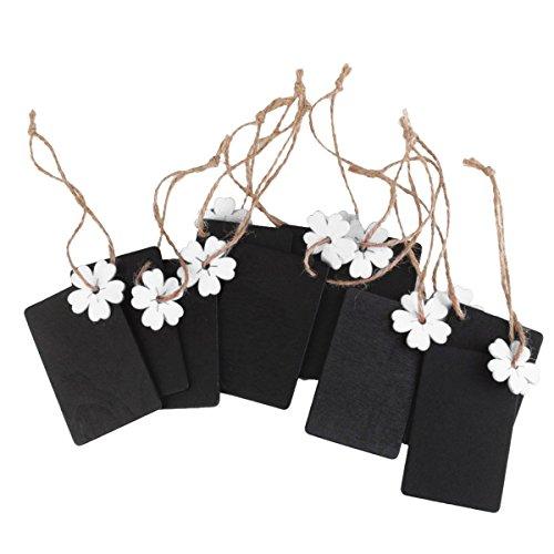 ultnice 10Stück Mini Tafel-Holz Schultafel Tafel Gerahmt Etiketten Bomboniere Gepäckanhänger Geschenke mit Kordel und Blume weiß