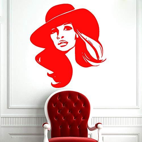 YuanMinglu Mädchen Dame entfernbare Wandaufkleber Mode charmante Mädchen Spa Salon Dekoration Applique rot 42X47cm