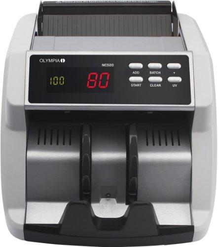 Olympia NC 520 Geldzähler (für Scheine, Echtheitsprüfung, Additionsfunktion, LCD-Display, Geldzähl-Maschine für Euro, Dollar, Pfund, Profi Geldscheinzähler mit Update-Funktion)