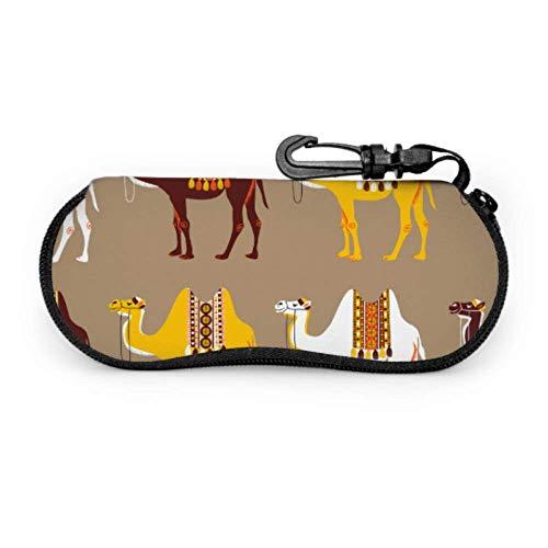 Estuche para gafas de sol de neopreno con cremallera suave para gafas de sol con diseño de animales africanos en el desierto