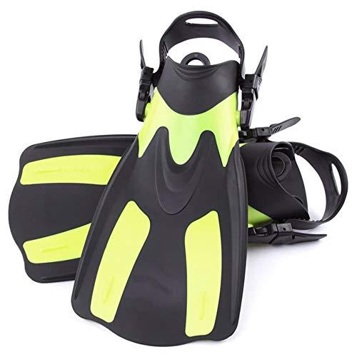Nicejoy Snorkel Aletas, Buceo Aletas, Snorkel Corto Aletas para Nadar Pie Aletas Aletas Adulto con El Talón Ajustable para Practicar Deportes Acuáticos Yellow X-m
