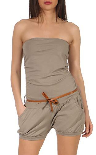 Malito Damen Einteiler kurz in Unifarben | Overall mit Gürtel | schicker Jumpsuit | Romper - Playsuit - Hosenanzug 8964 (braun)