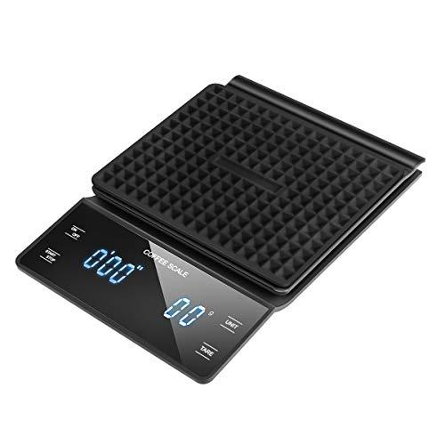 Laelr Balance à café numérique, balance de cuisine Balance multifonctionnelle pour balance électronique avec affichage LED Précision de 3000 g 0,1 g / 0,1 oz / 0,1 ml (piles non incluses)