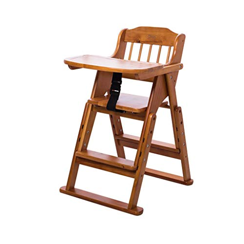 For Sale! Highchairs Wooden Baby Highchair Adjustable Foldable Feeding Chair with Cushion