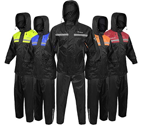 Alpha Cycle Gear Rain Suit for Men & Women Jackets Pant Gear Reflective Rainsuit Waterproof (BLACK, X-LARGE)