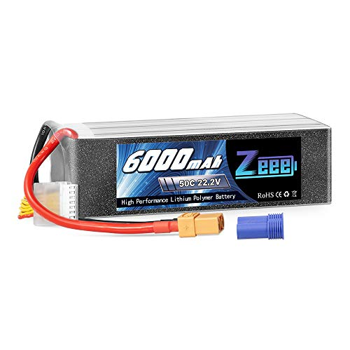 Zeee 6000mAh 50C 22.2V 6S Lipo Battery with XT90/EC5 Plug for DJI Airplane RC Quadcopter Helicopter Car Truck Boat Hobby