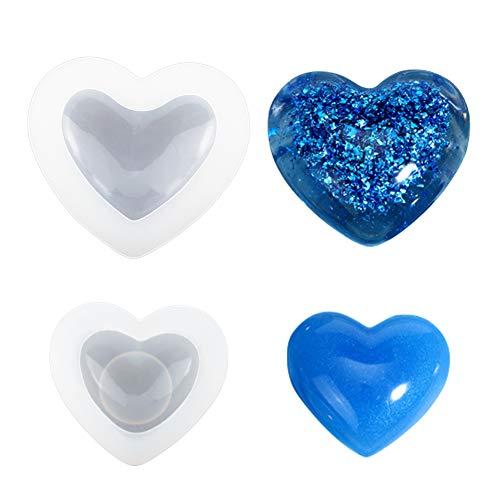 WANDIC Silikonform, 2 st kärlekshjärta form silikonformar 3D hjärta tvålform för gör-det-själv handgjorda tvålhantverk silikon hjärta hängande formar för harts