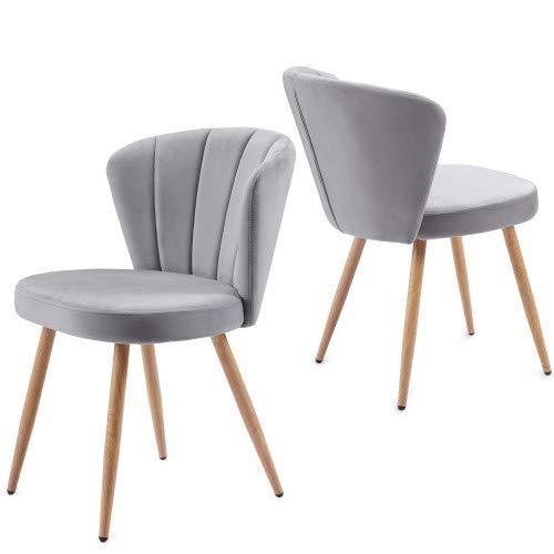 ModernLuxe Esszimmerstühle Set Samt Küchenstuhl Wohnzimmerstuhl mit Shell-Stil Rückenlehne Vintage Sessel Polsterstuhl Komfort Sitzgefühl, Sitzhöhe 46,5 cm (2er, Grau)