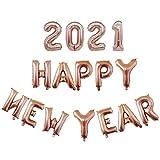 Juego de globos 2021, lámina de aluminio, número globos 2021, globos de graduación 2021, Nochevieja, decoración para fiestas, color oro rosa, 40 cm