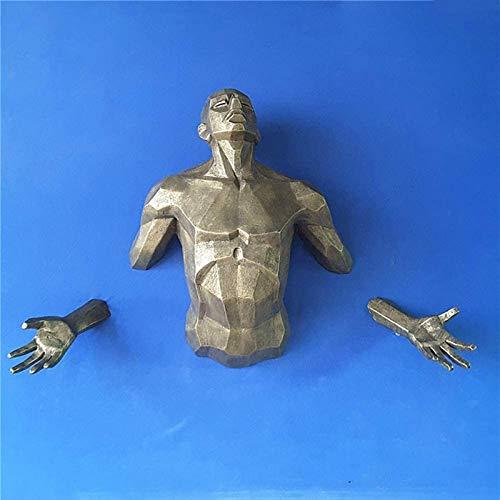 JJDSN Esculturas de decoracin de Pared de Hombre Masculino con Acabado de Bronce, estatuas de Arte Corporal 3D para Bar Coffee Club, Moderno y Creativo para Colgar en la Pared de Torso Humano Bro