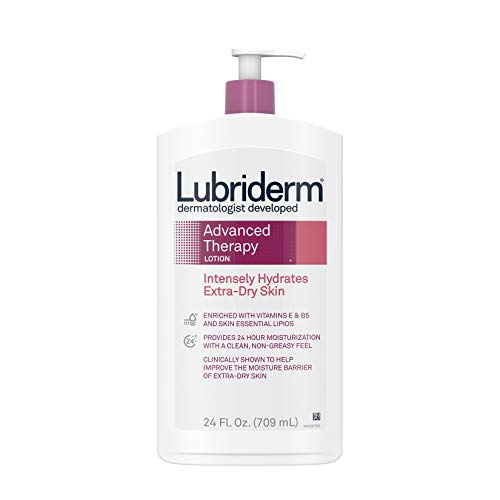 Lubriderm Advanced Therapy Moisturizing Lotion with Vitamins E and B5, Deep Hydration for Extra Dry Skin, Non-Greasy Formula, 24 fl. oz (Pack of 3)