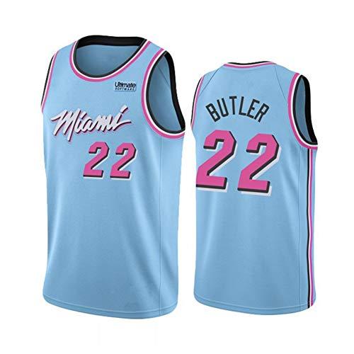 Hombres de Camiseta Miami Heat # 22 de Butler Retro Bordado Jersey, Transpirables Mangas Ropa del Entrenamiento del Chaleco Tapas de Aficionados para el Baloncesto,Azul,S