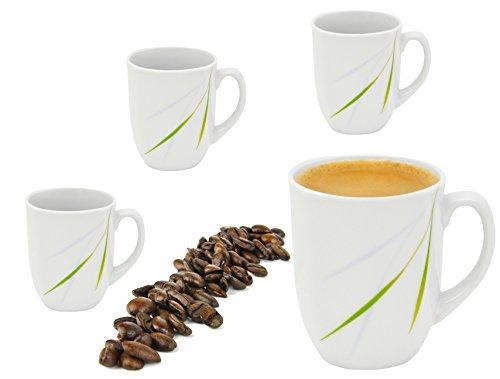 Van Well 4er Set Kaffeebecher 330ml weiß - Verschiedene Dekore wählbar, Dekor:Aviva
