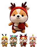 CASAGOOD Squirrel Stuffed Animal in Christmas Deer Costume, Adorable Plushies Chipmuck Wearing Red Deer Outfit, Plush Toys Chipmuck as Great Gift for Kids. Stuffed Animals for Daily 10 Inch