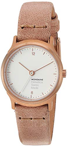 Mondaine Helvetica Wrist Watch Women (MH1.L1111.LG) Swiss Made, Rose-Gold Leather Strap, Stainless Steel Case, White Face and Rose Gold Markers