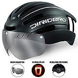 DIRIDERO Casco Bici Luce LED, Certificato CE, Casco con Visiera Magnetica Staccabile, Casc...