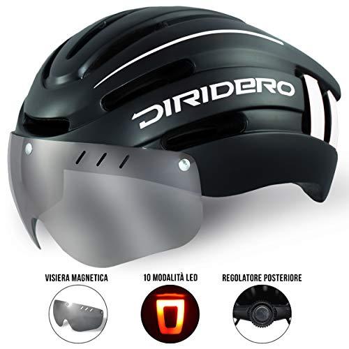 DIRIDERO Casco Bici Luce LED, Certificato CE, Casco con Visiera Magnetica Staccabile, Casco da Bici...