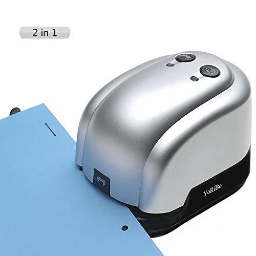 2 en 1 Agrafeuse électrique, Agrafeuse Automatique et Perforatrice, Capacité de 20 à 25 feuilles, Agrafeuse à...