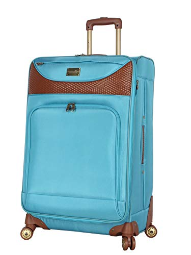 Caribbean Joe Luggage Castaway Large Expandable Suitcase With Spinner Wheels (Light Blue)