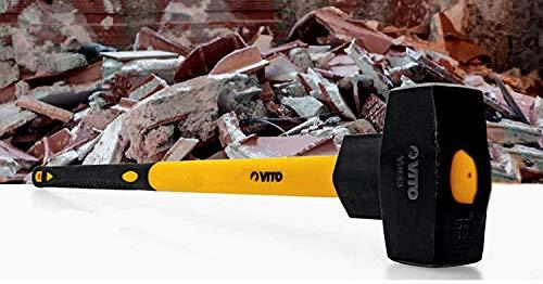 VITO Vorschlaghammer 4 kg | Abbruchhammer 4000 g | hochwertiges Schlagwerkzeug mit Fiberglasstiel, Spezialstahl, hohe Qualität, ergonomischem Griff