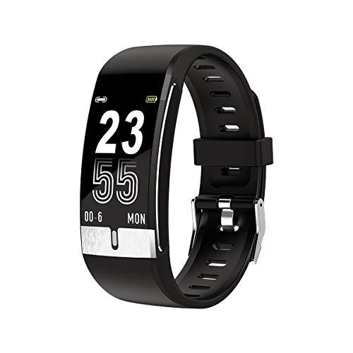 KUCE Fitness Armband Fitness Tracker mit Pulsmesser,IP68 Wasserdicht Aktivitäts Tracker Fitness Uhr Schrittzähler Smart Watch für Damen Herren Kinder,Schwarz