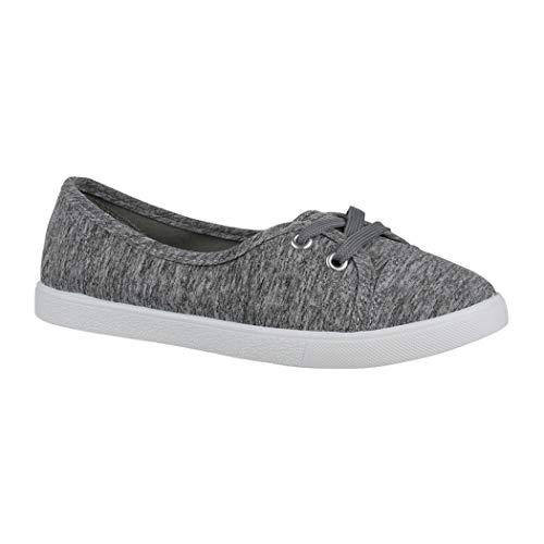 Elara Damen Ballerinas Sneaker Schnürer Chunkyrayan P CL33311 Grey-40