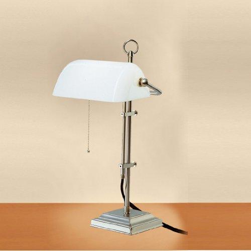 Bankers Lamp, weißer Schirm Gestell matt vernickelt - (W2-99op N)