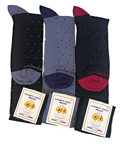 Lucchetti Socks Milano 6 paia calze uomo lunghe estive in diverse fantasie, cotone mercerizzato fresco e leggero Taglia Unica (Assortimento D)