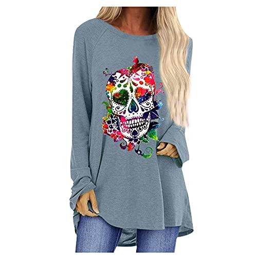 Camisetas de Halloween para mujer con estampado de calaveras con estampado de esqueleto floral y cuello redondo, casual de manga larga, gris, XXXL