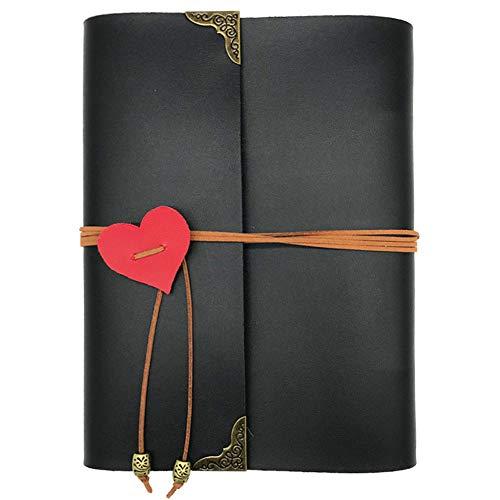 Ufamiluk Scrapbook Album DIY Leder Fotoalben Buch Selbstklebend Foto Album Rot Herz Dekoration für Hochzeitstag Geschenke 17.5cm x 19cm, Schwarz-60 Seiten