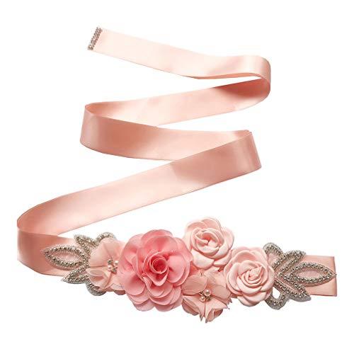 JiXuan Niñas Mujeres Nupcial Dama de Honor Cinturón de Perlas Florales Princesa Vestidos de Vovia de la Cintura de la Cintura