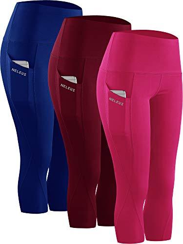 Neleus 3 Pack Workout Running Capris Tummy Control High Waist Yoga Leggings Yoga Pants9027Dark redBlueRose red2XLEU 3XL