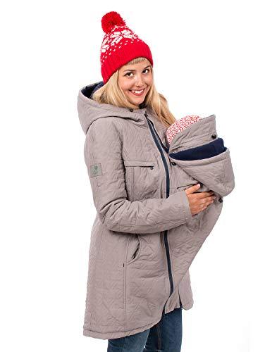 Viva la Mama Winterumstandsmantel Tragejacke lang warm Umstandsmode Jacke Damen Polaris hellgrau - S