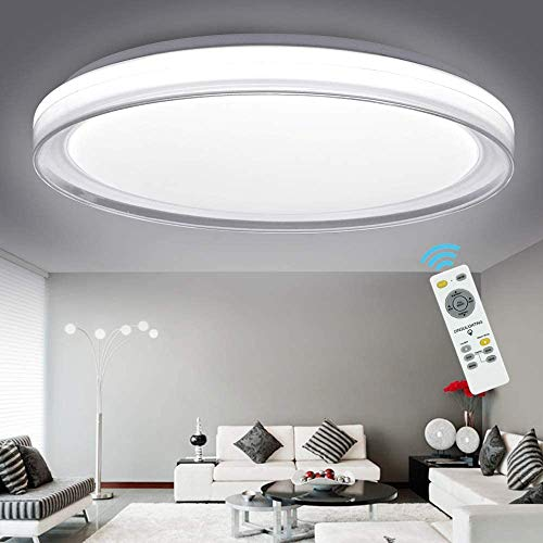 DLLT 48W Ceiling Light Fixture Industrial, LED Dimmable Modern Flush Mount Lighting with Remote Control Bright for Living Room, Bedroom, Kitchen, Dining Room, Office, Hotel 3-Light Changeable