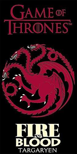 Game of Thrones Badetuch Schwarz Rot Targaryen 70 cm x 140 cm 100% Baumwolle Velours Daenerys Strandlaken Strandtuch Handtuch Badelaken Saunatuch G.o.T. Drachenstein Eiserner Thron Fire and Blood