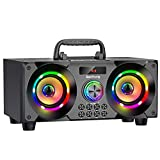 60W Portable Bluetooth Speaker with Subwoofer Heavy Bass, Wireless Speakers Bluetooth 5.0, Support FM Radio, MP3 Player, EQ,LED Colorful Lights, Loud Outdoor Stereo Speaker for Home, Party, Travel
