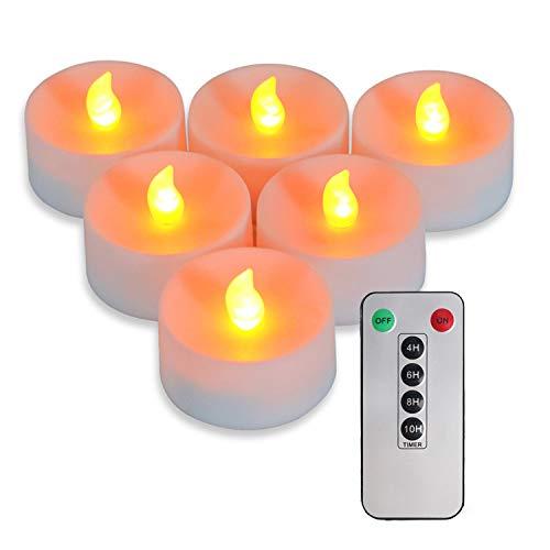 Candele natalizie senza fiamma a LED, confezione da 6, 6 candele rotonde grandi da 5,5 x 3,5 cm, con telecomando a 6 tasti, 2 batterie AAA (batteria non inclusa) (Luce gialla calda)