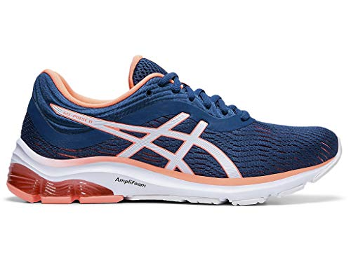 ASICS Women's Gel-Pulse 11 Running Shoes, 8.5M, MAKO Blue/Sun Coral