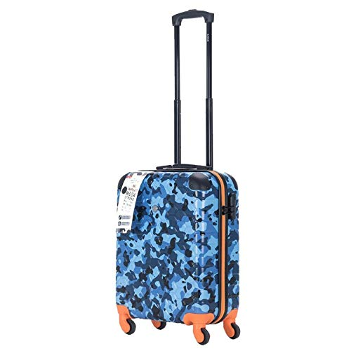 Cabin Hard Shell Case Spinner Wheeled ABS Travel Luggage Suitcase Trolley Baggage Flight Bag with TSA Lock Bags (Blue Camouflage)